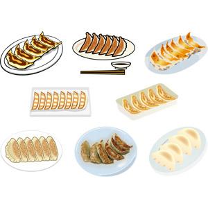 フリーイラスト, ベクター画像, AI, 食べ物(食料), 料理, 中華料理, 餃子(ギョウザ), 肉料理, 粉物料理