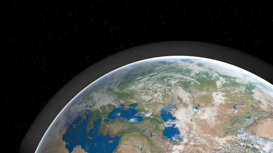フリーイラスト 宇宙と地球