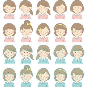 フリーイラスト, ベクター画像, AI, 人物, 子供, 女の子, ツインテール, ショートヘア, カチューシャ