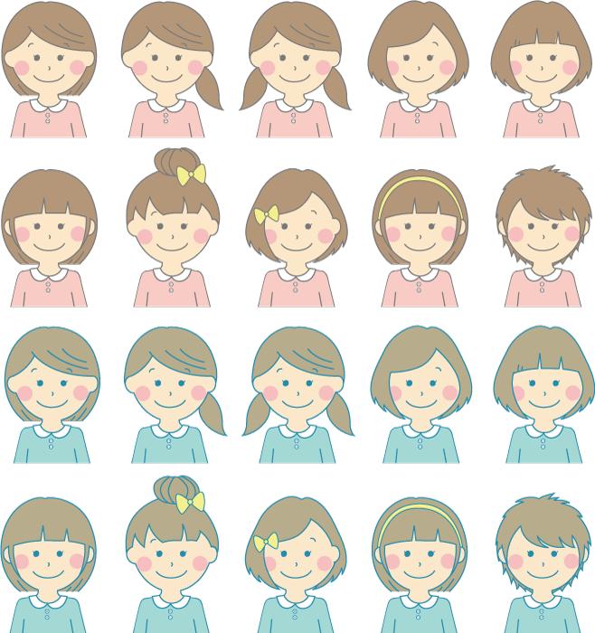 フリーイラスト 20種類の女の子のセット