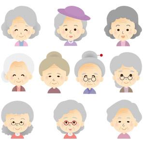 フリーイラスト, ベクター画像, AI, 人物, 老人, 祖母(おばあさん), シニア女性, 老眼鏡, 白髪