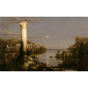 フリー絵画, トマス・コール, 帝国の推移, 古代都市, 建造物, 建築物, 廃墟, 月