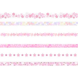 フリーイラスト, ベクター画像, AI, 飾り罫線(ライン), 植物, 花, 花柄, 桜(サクラ), 春