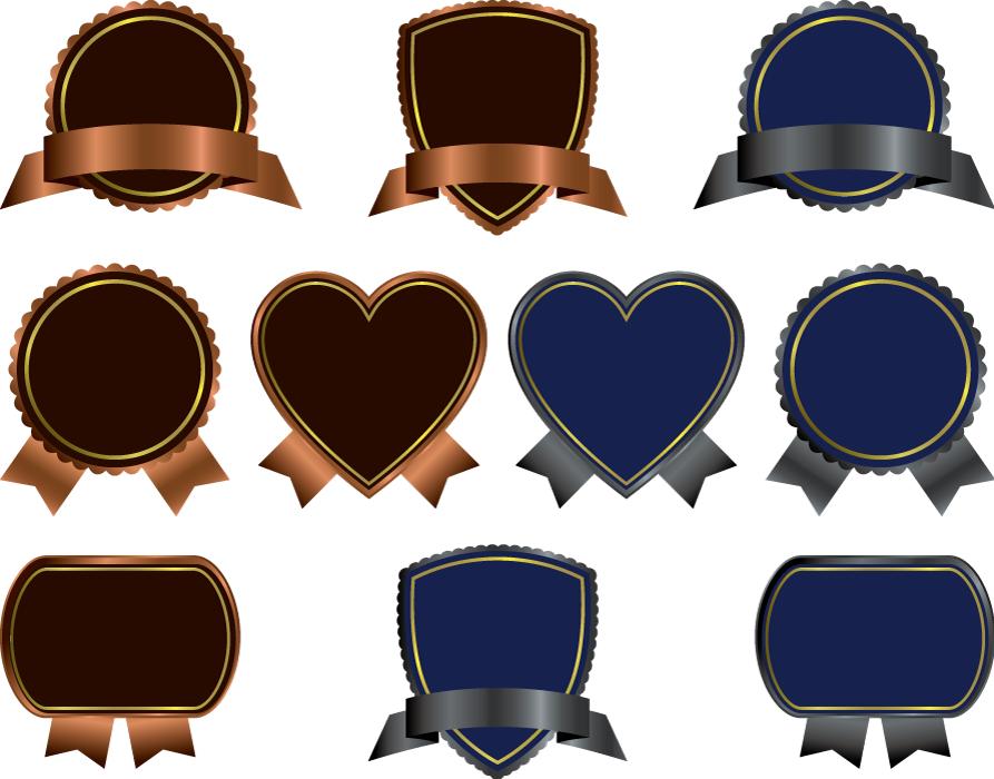 フリーイラスト 10種類の茶色と青色のラベルのセット