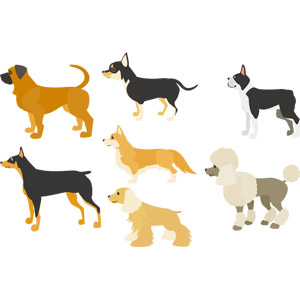 フリーイラスト, ベクター画像, AI, 動物, 哺乳類, 犬(イヌ), イングリッシュ・マスティフ, チワワ, ボストン・テリア, ウェルシュ・コーギー, プードル, アメリカン・コッカー・スパニエル