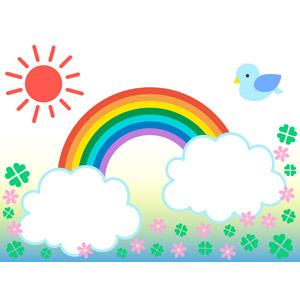 フリーイラスト, ベクター画像, EPS, 背景, 太陽, 晴れ, 小鳥, 青い鳥, 虹, 雲, ピンク色の花, クローバー(シロツメクサ), 四つ葉のクローバー