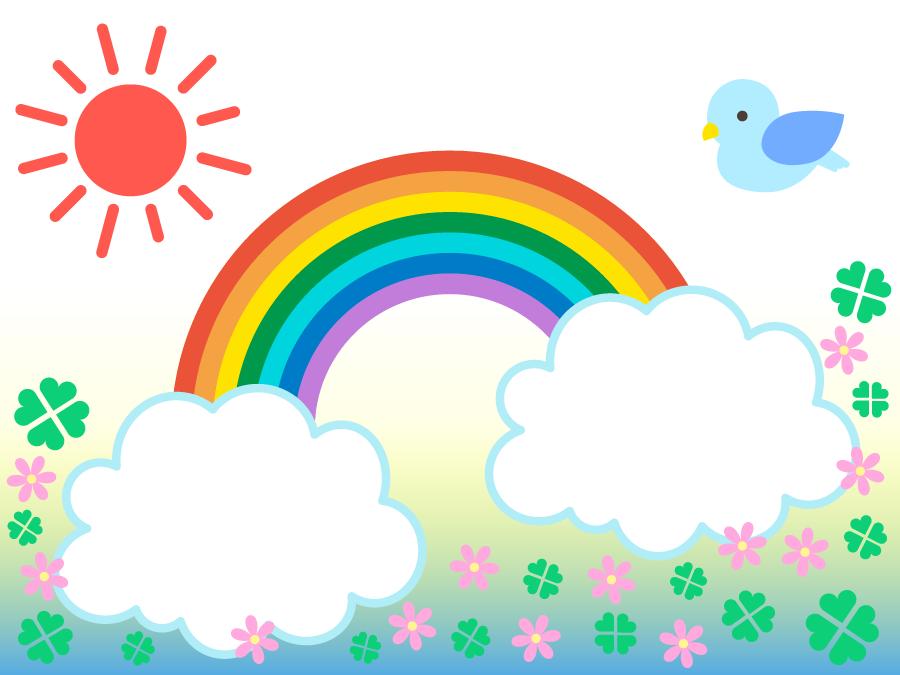 フリーイラスト 虹と青い鳥と花畑の背景