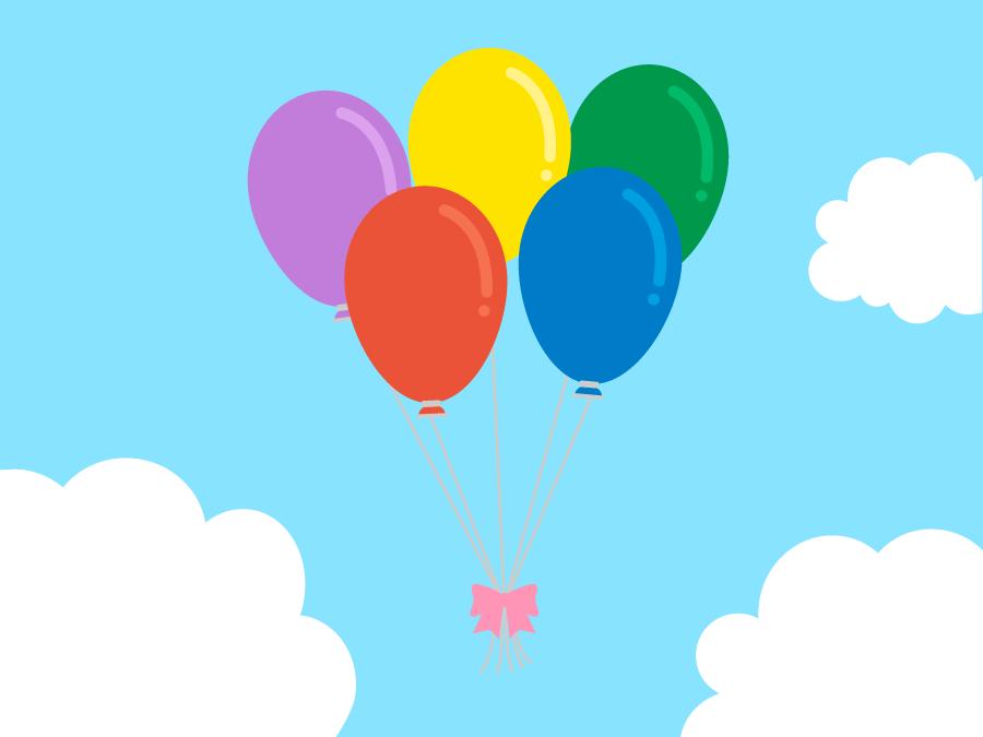 フリーイラスト 青空に浮かぶ風船