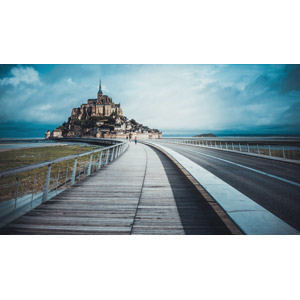 フリー写真, 風景, 建造物, 建築物, モン・サン=ミシェル, 修道院, 世界遺産, フランスの風景, 道路