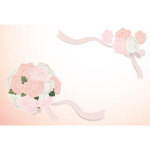 フリーイラスト, ベクター画像, EPS, 背景, フレーム, 対角フレーム, 結婚式(ブライダル), ブーケ, 花, 薔薇(バラ), リボン