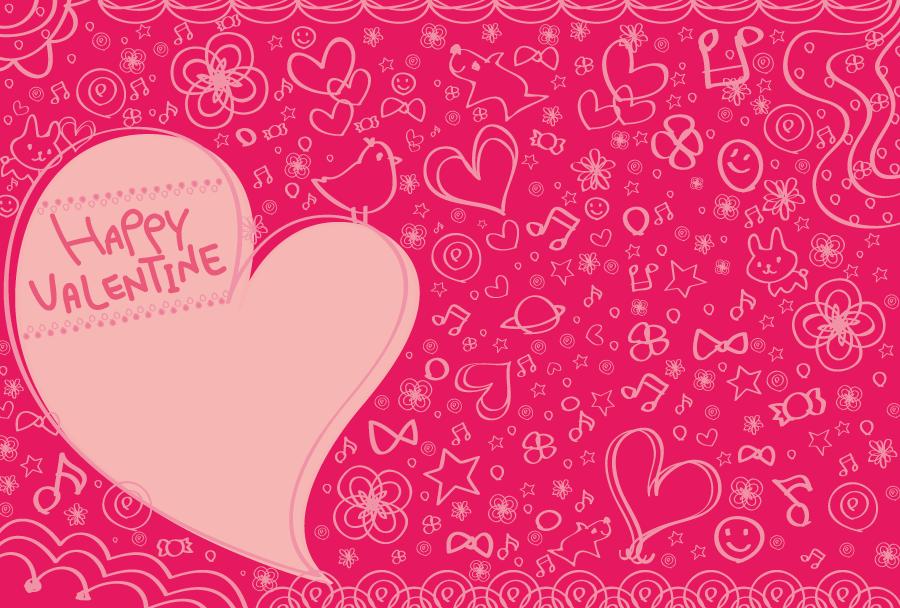 フリーイラスト ハートのバレンタインデーの背景