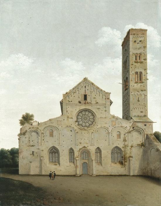 フリー絵画 ピーテル・ヤンス・サーンレダム作「ユトレヒトの聖メアリー教会の西ファサード」