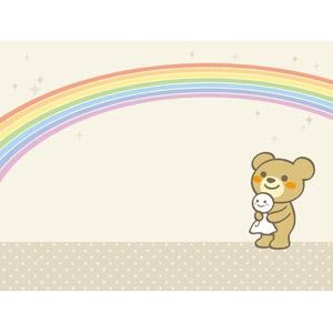 フリーイラスト, ベクター画像, AI, 背景, 虹, 熊(クマ), てるてる坊主