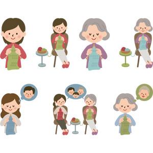 フリーイラスト, ベクター画像, AI, 人物, 女性, 老人, シニア女性, 祖母(おばあさん), 母親(お母さん), 編み物(ニット), 家族
