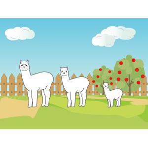 フリーイラスト, ベクター画像, EPS, 動物, 哺乳類, アルパカ, 家族(動物), 親子(動物), 牧場