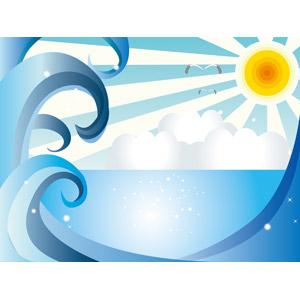 フリーイラスト, ベクター画像, EPS, 風景, 自然, 海, 波, 太陽, 晴れ, 夏, 鴎(カモメ)