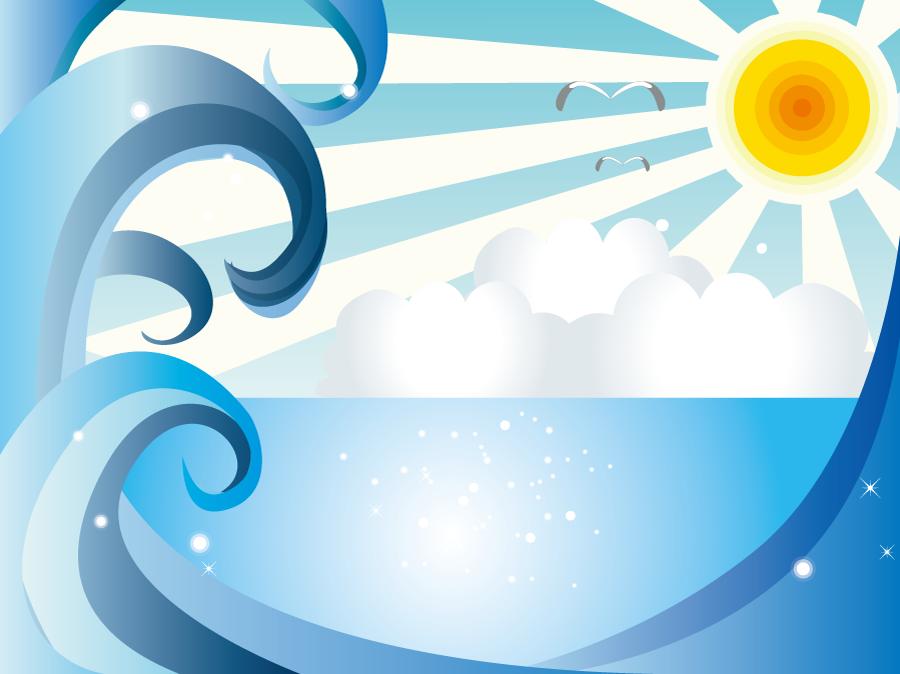 フリーイラスト 高波と夏の海