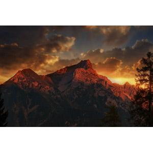 フリー写真, 風景, 自然, 山, 夕暮れ(夕方), オーストリアの風景, 雲