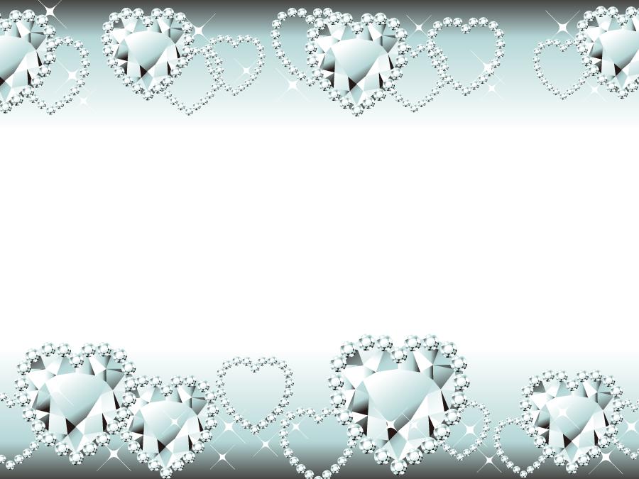 フリーイラスト ダイヤモンドのハートの飾り枠
