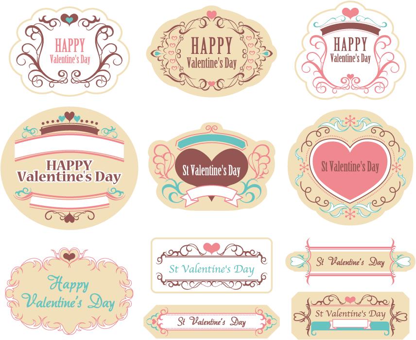フリーイラスト 11種類のバレンタインデーのラベルのセット