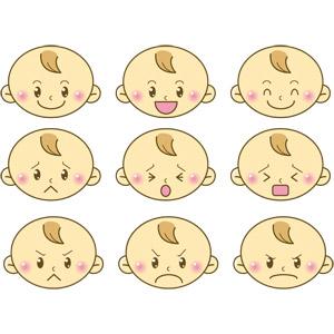 フリーイラスト, ベクター画像, EPS, 人物, 子供, 赤ちゃん, 顔, 喜ぶ(嬉しい), 泣く(泣き顔), 怒る, 困る