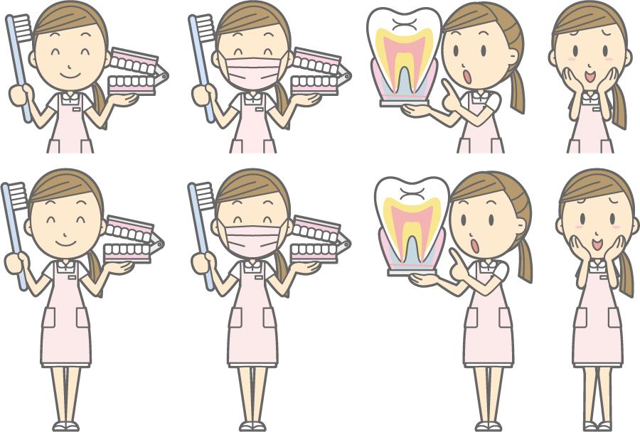 フリーイラスト 歯の模型を持つなどの8種類の歯科衛生士のセット