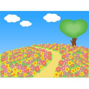 フリーイラスト, ベクター画像, AI, 風景, 丘, 花畑, 花, 樹木, ハート, 青空