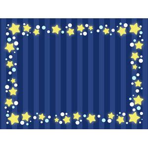 フリーイラスト, ベクター画像, AI, 背景, フレーム, 囲みフレーム, 夜, 星(スター), 縞模様(ストライプ)