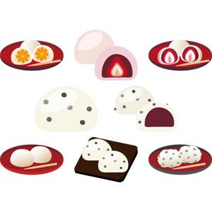 フリーイラスト, ベクター画像, AI, 食べ物(食料), 菓子, 和菓子, 餅菓子, 大福, 豆大福, いちご大福