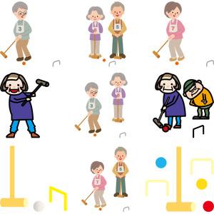 フリーイラスト, ベクター画像, AI, スポーツ, 球技, ゲートボール, 人物, 老人, 祖父(おじいさん), 祖母(おばあさん), シニア男性, シニア女性