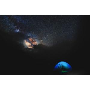 フリー写真, 風景, 夜, 夜空, 星(スター), 天の川, テント