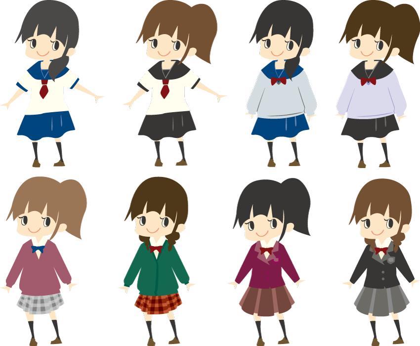 フリーイラスト 8人女子高生のセット