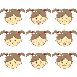 フリーイラスト, ベクター画像, EPS, 人物, 子供, 女の子, 顔, 喜ぶ(嬉しい), 泣く(泣き顔), 怒る, 困る