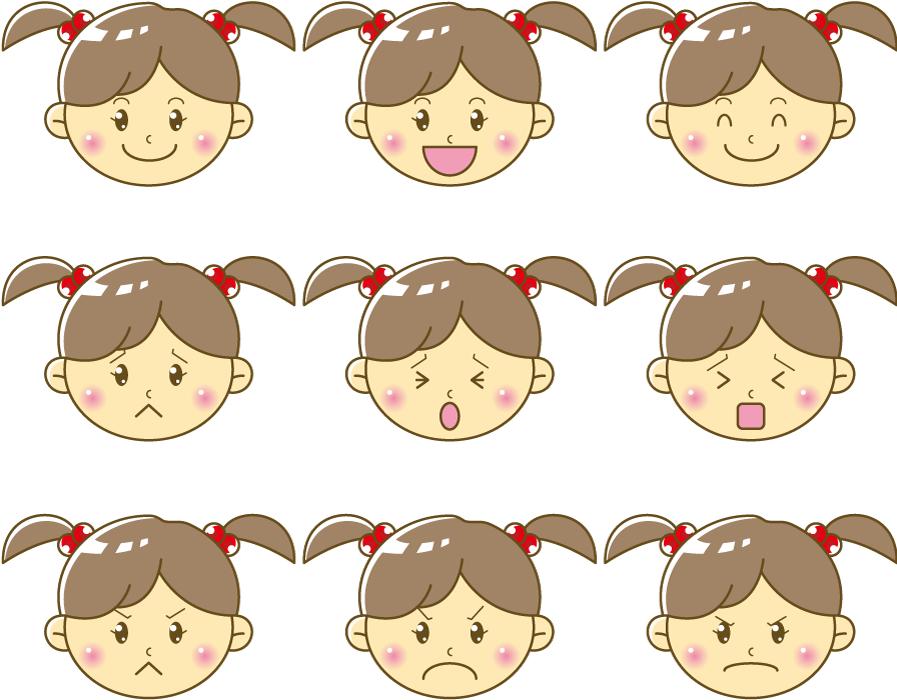 フリーイラスト 9種類の喜怒哀楽の女の子の顔のセット