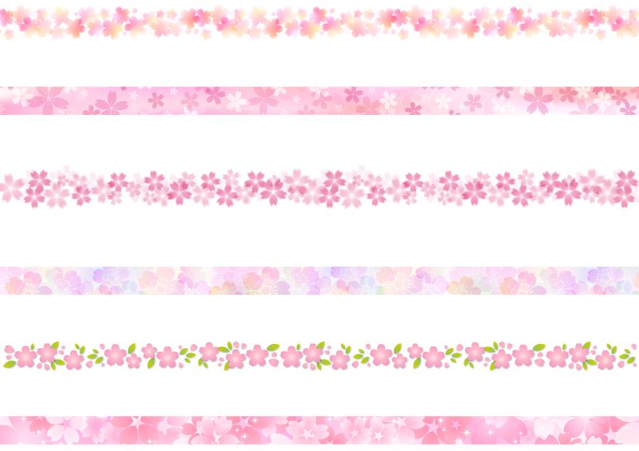 フリーイラスト 6種類のさくらの花柄の飾り罫線のセット