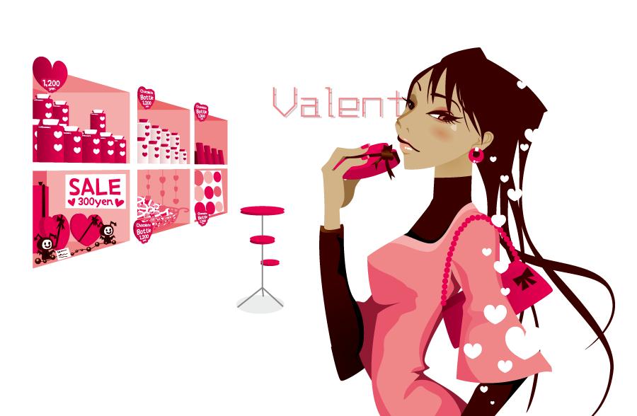 フリーイラスト バレンタインチョコを買う女性