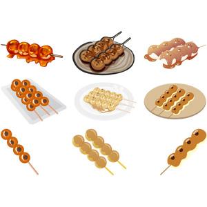 フリーイラスト, ベクター画像, AI, 食べ物(食料), 菓子, 和菓子, 団子(だんご), みたらし団子