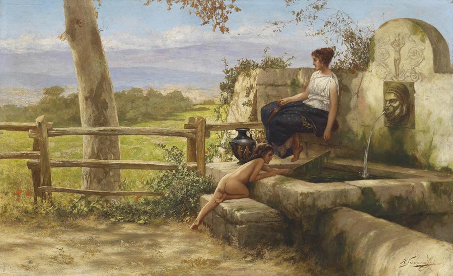 フリー絵画 ヘンリク・シェミラツキ作「泉のほとり」