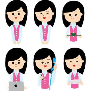 フリーイラスト, ベクター画像, EPS, 人物, 女性, ビジネス, OL(オフィスレディ), 職業, 仕事, 事務服, ノートパソコン, デスクワーク, 固定電話, 通話, 書類