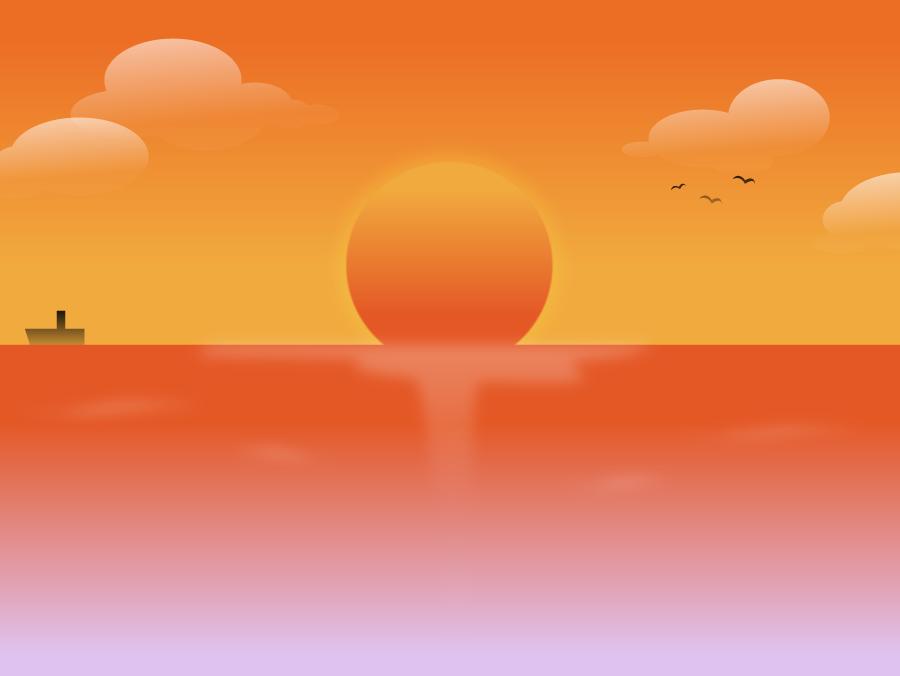 フリーイラスト 海と日の入りの風景