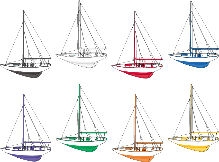 フリーイラスト 8種類のヨットのセット