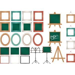 フリーイラスト, ベクター画像, AI, 額縁, イーゼル, 譜面台, 黒板