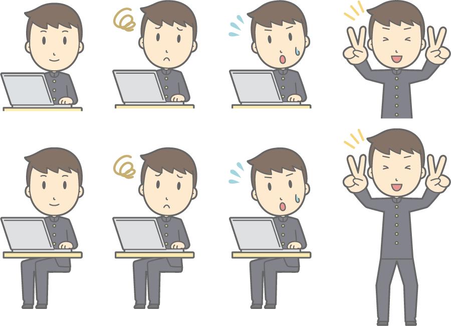 フリーイラスト ノートパソコンを使うなどの8種類の男子学生のセット