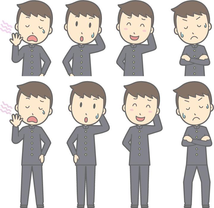 フリーイラスト あくびをするなどの8種類の男子学生のセット
