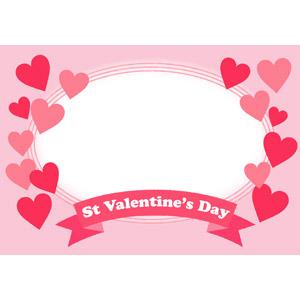 フリーイラスト, ベクター画像, AI, 背景, フレーム, 円形フレーム, 年中行事, 2月, バレンタインデー, ハート, 帯リボン, ピンク色