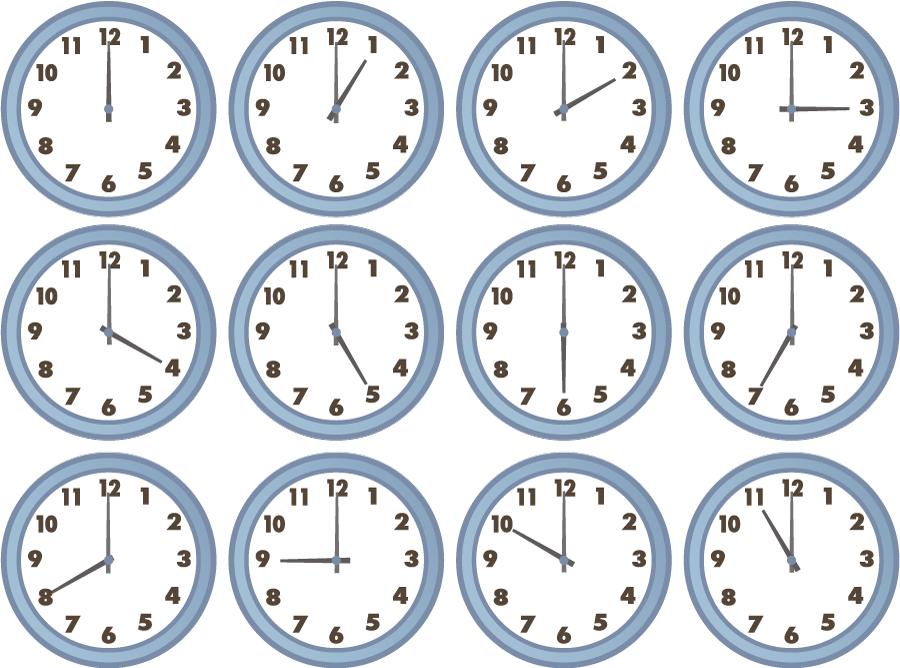 フリーイラスト 時間の違う12種類の掛け時計のセット