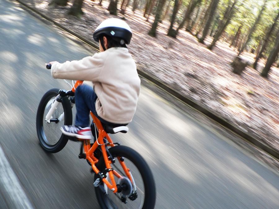 フリー写真 マウンテンバイクに乗って進む男の子