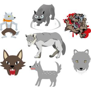 フリーイラスト, ベクター画像, AI, 動物, 哺乳類, 狼(オオカミ), 動物の顔