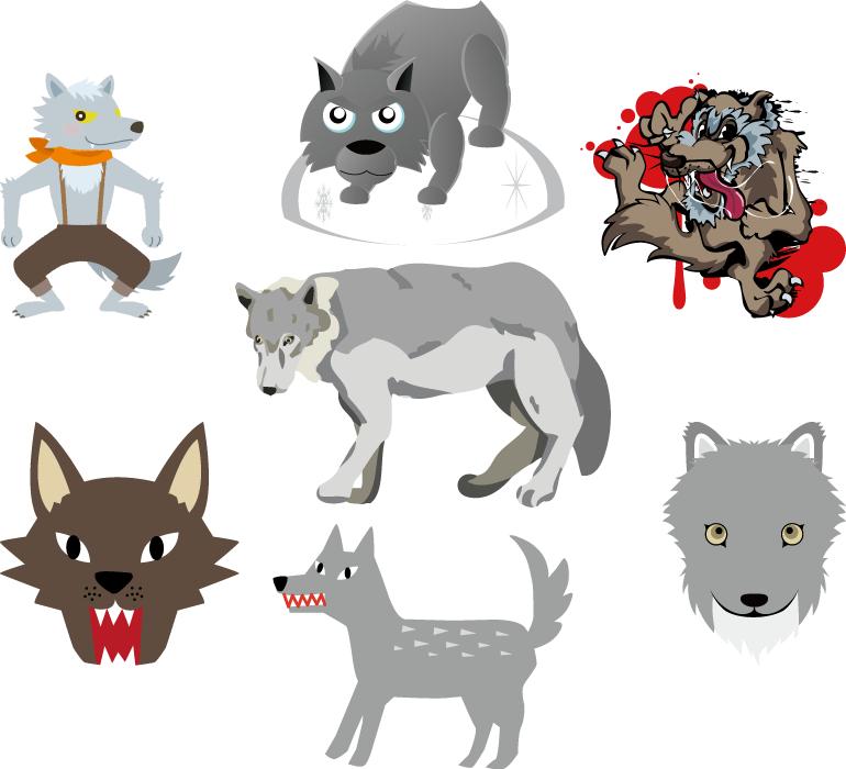 フリーイラスト 7種類のオオカミのセット