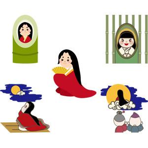 フリーイラスト, ベクター画像, AI, 童話(おとぎ話), 竹取物語, かぐや姫, 竹(タケ), 着物, 見送る, 祖父(おじいさん), 祖母(おばあさん), 月